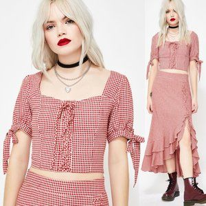 Red Gingham Lace Up Square Neck Bow Cute Crop Top